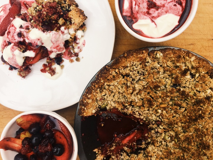 Vegan Apple & Berry Crumble Tart